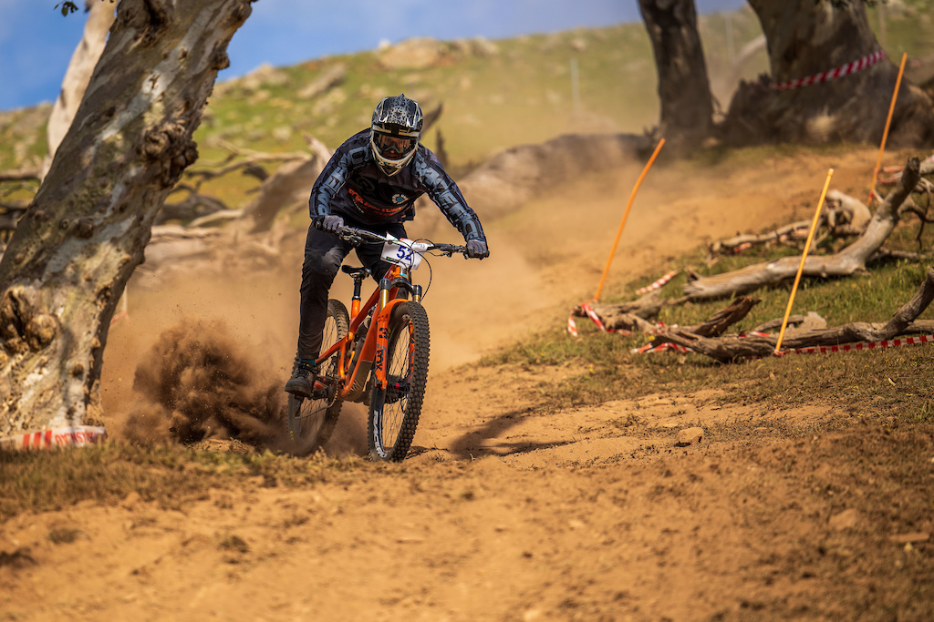 Steve Gebert on the enduro bike only 2.2sec off the pace of Connor Fearon