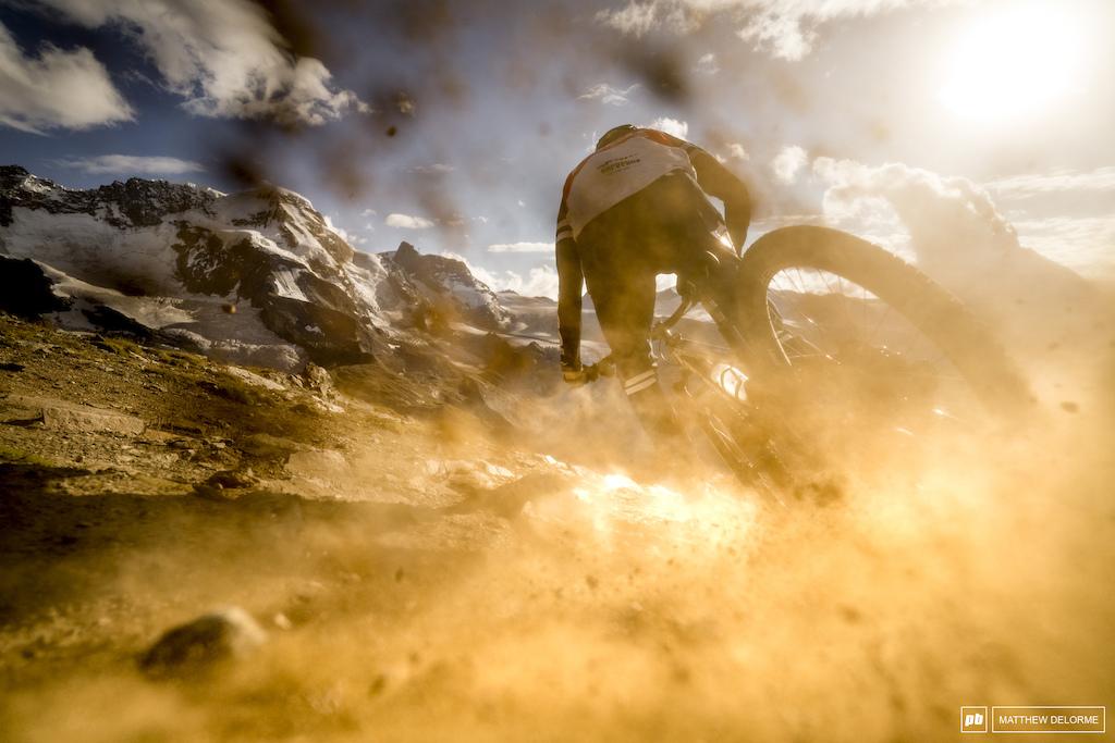 Florian Nicolai blowing up a bit of Zermatt dust.
