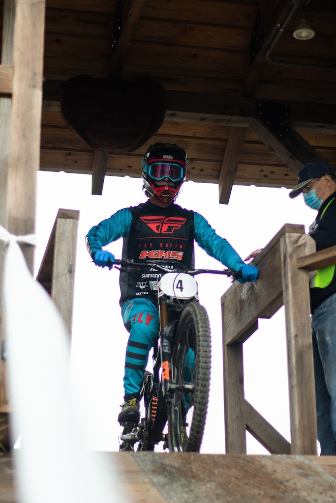 KHS Pro MTB team rider Steven Walton set in the starting gate for his final run at the DH national finals at Snowshoe W.V.