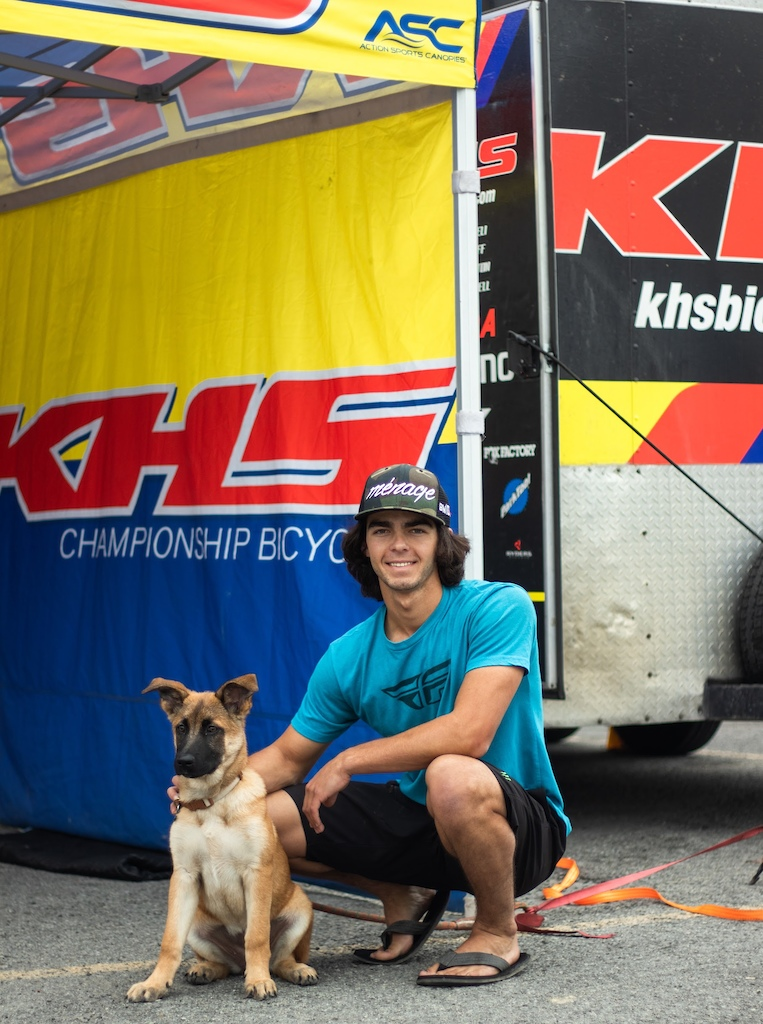 KHS Pro MTB team rider Steven Walton with his puppy.