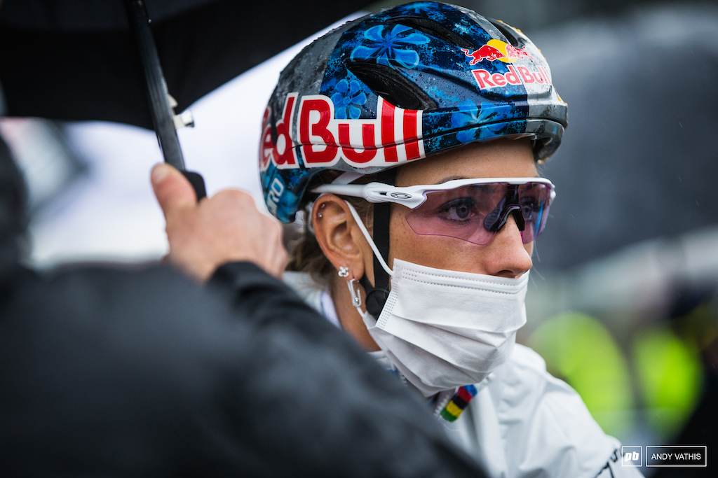 Pauline Ferrand Prevot dialed in. She would lead or at least challenge the front of the pack for most laps.