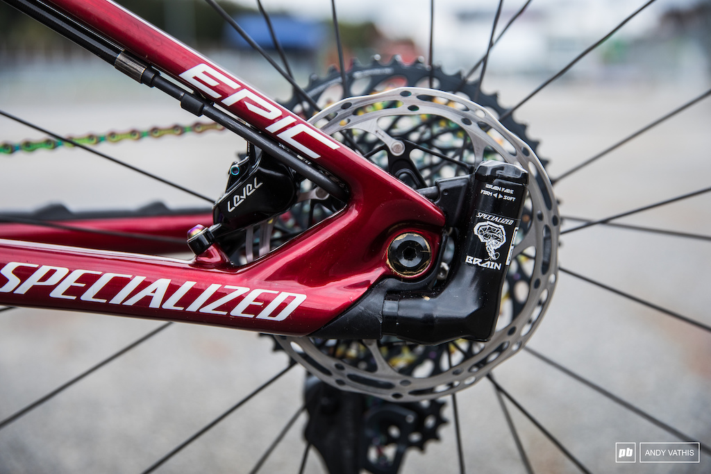 The Brain system is still present on their XC race bikes. It was setup as firm as can be for XCC and will probably be softened up a touch for finals.