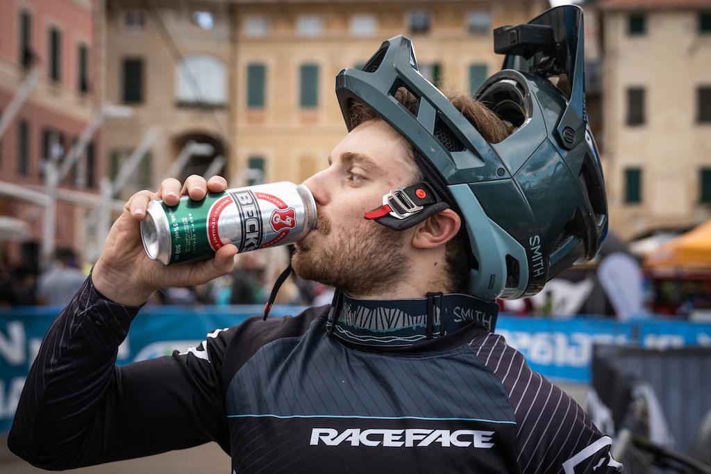Post race win beverage for Jesse Melamed Photo by Kike Abelleira