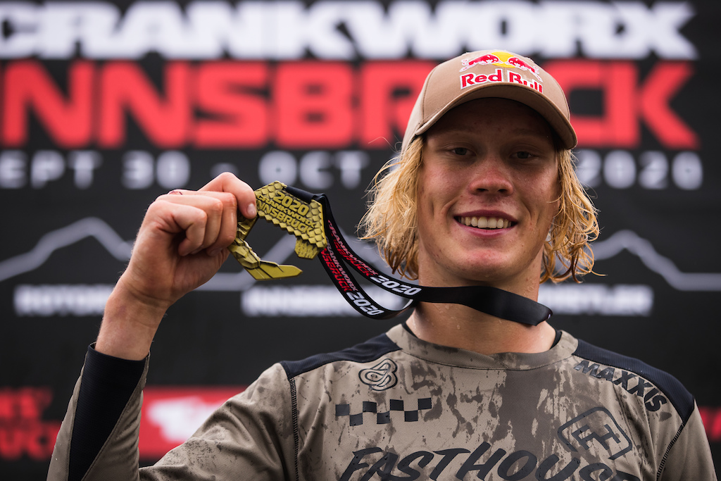 Emil Johansson with his well deserved gold medal at 2020 Crankworx Innsbruck