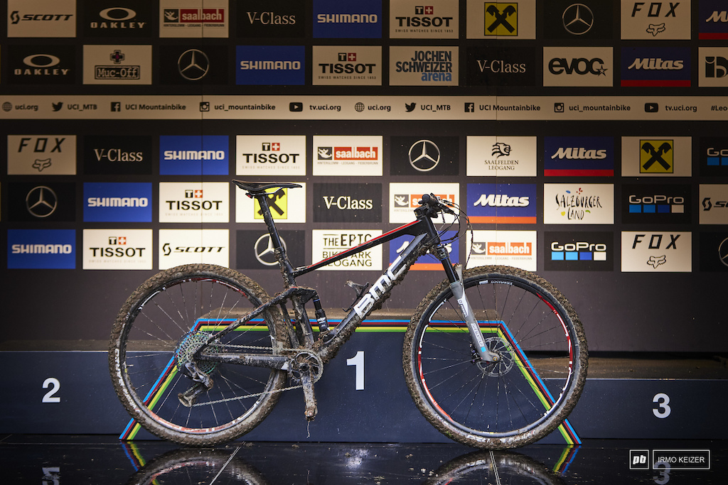 Jordan Sarrou s winning BMC Fourstroke bike in Leogang Saalfelden.
