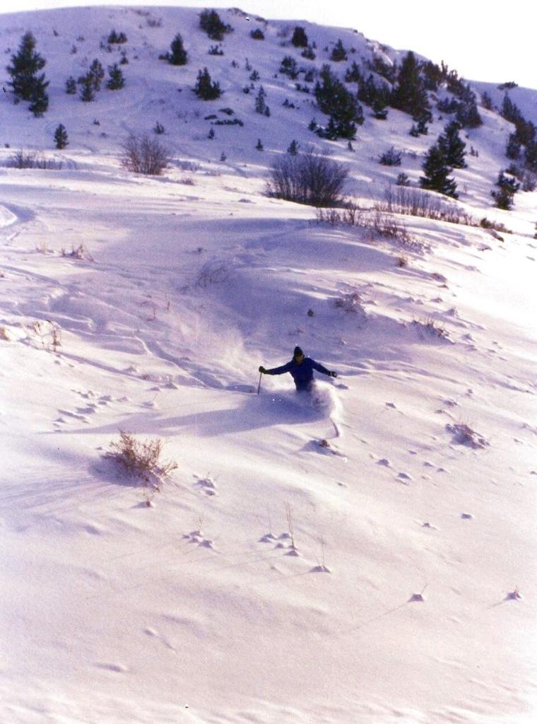 Rare opportunity to ski the Acropolis, 1993.
