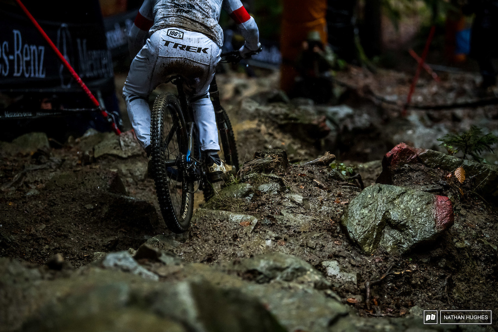 The continuing rain seemed to keep the rocks clean and grippy for riders until the end of the session.