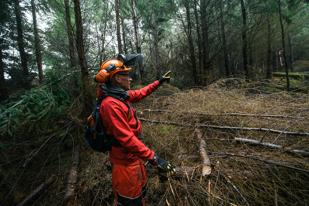 Pointing over the slash to where the trail is coming from.