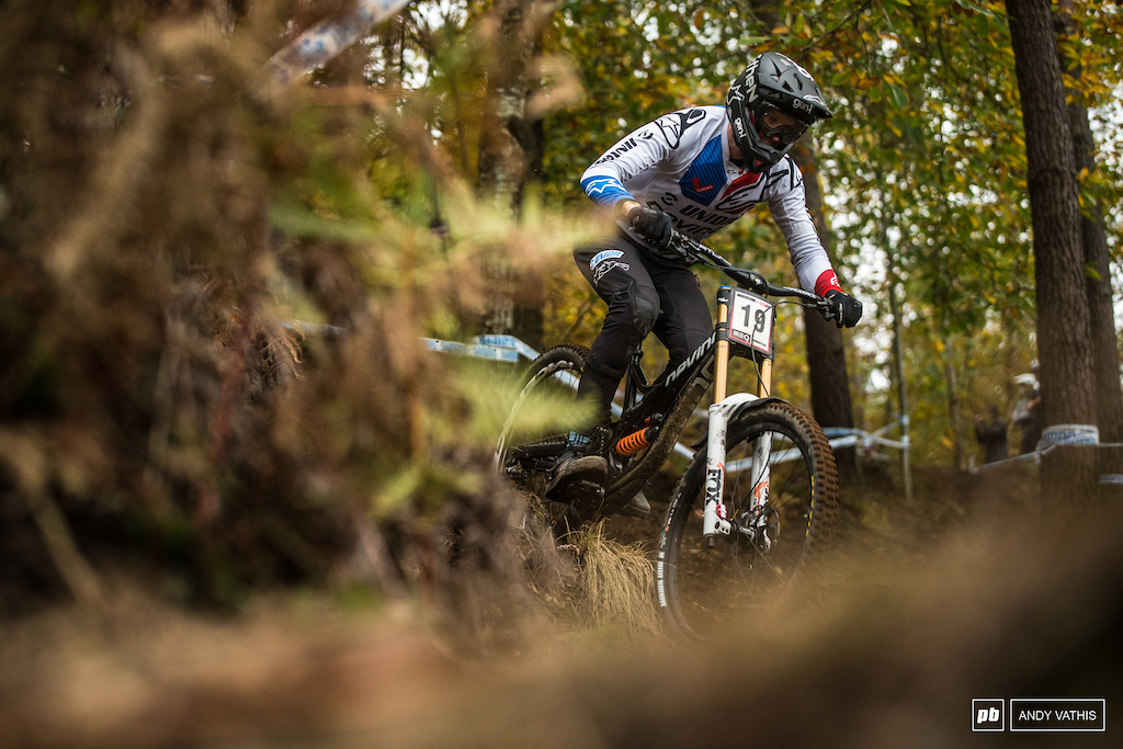 Jure Zabjek finding his stride on this steep course.