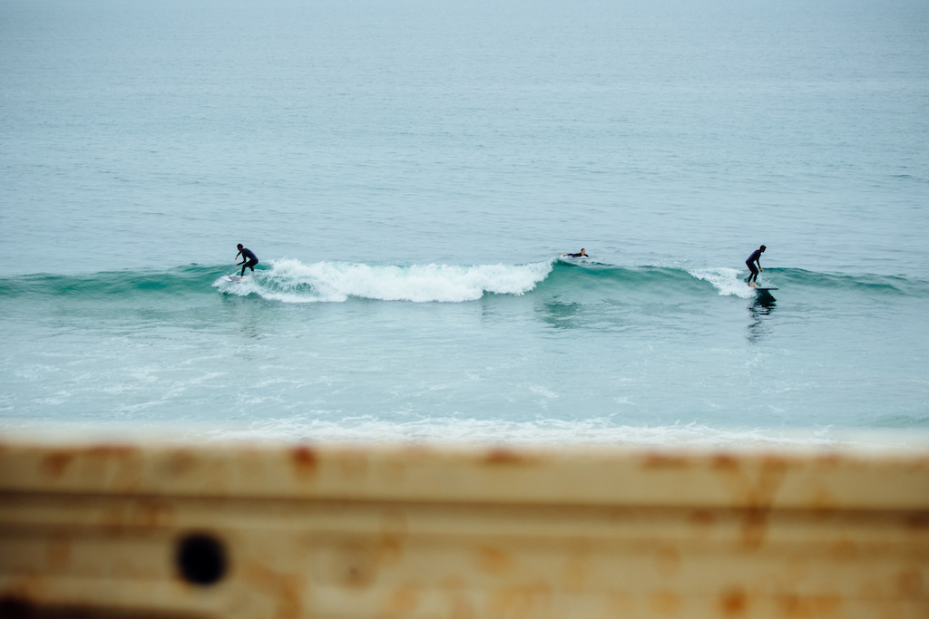 Couple of kooks cruising down the line. Mid shoot surf breaks for the crew were part of the daily routine of course.