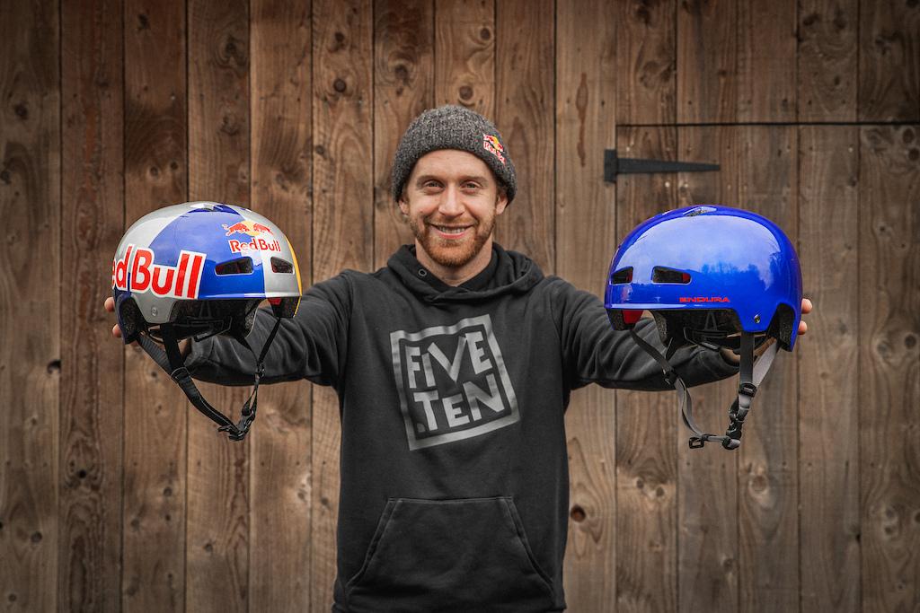 Danny MacAskill showing his new Endura Signature Helmets