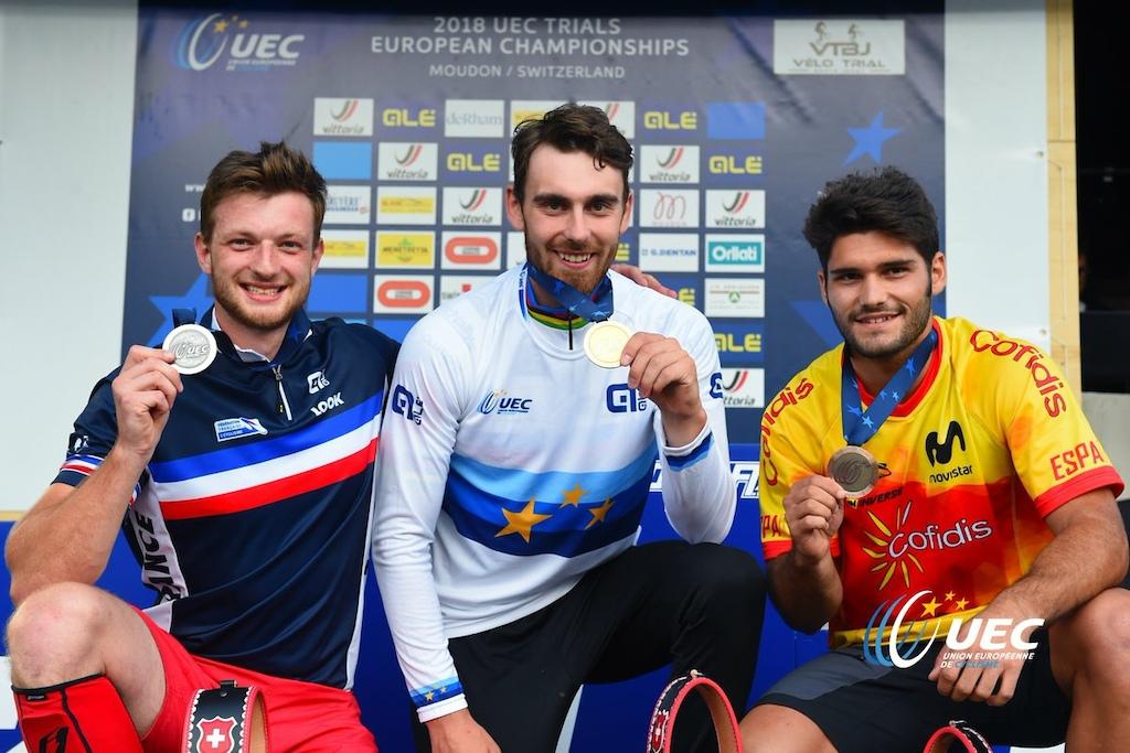 Podium of the 2018 Elite 26 UEC Trials European Championships