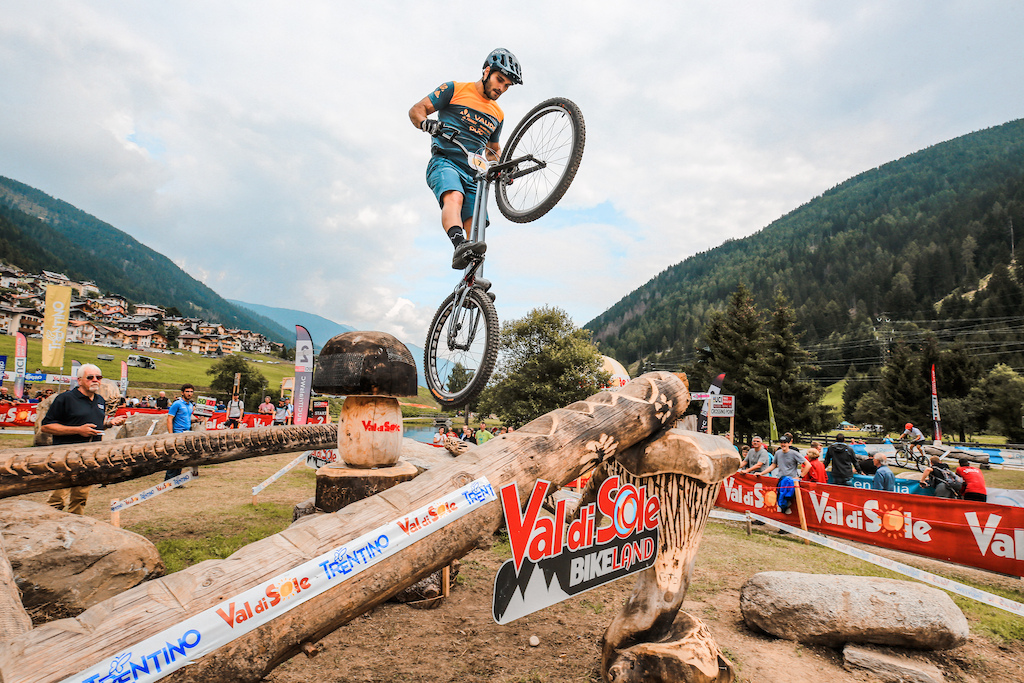 Pol riding in the semifinals of the UCI Trials World Cup in Val di Sole