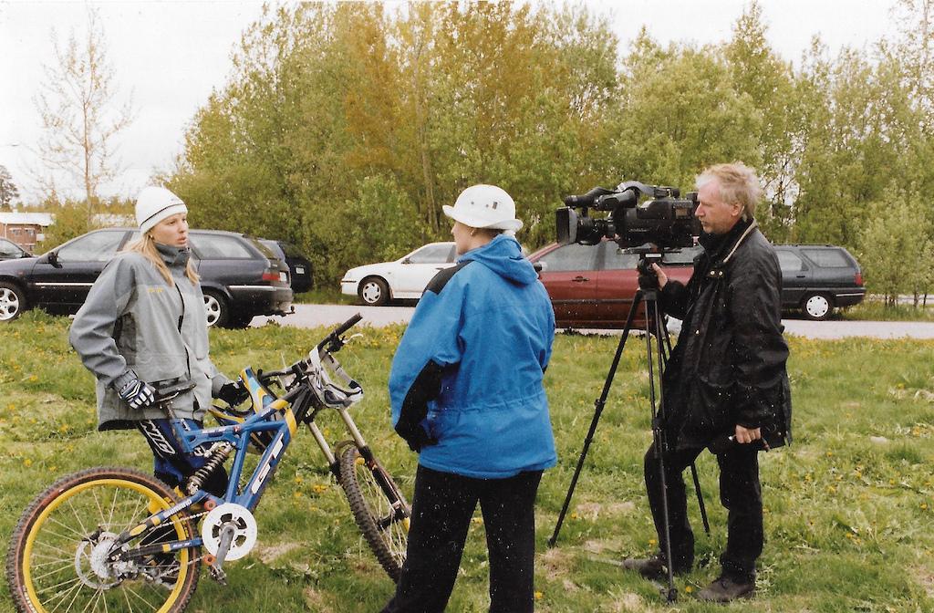 Katja Repo. Malminkartano Finland 2001. National TV interview. Photo Joonas Vinnari