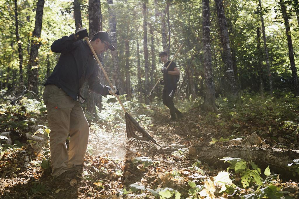 Adam Craig working on trails