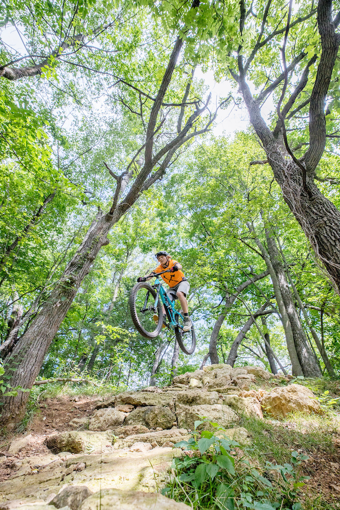Photo taken by Chris Guibert of Rock Solid Trail Contractors in summer of 2020. Jed Olson is the rider featured