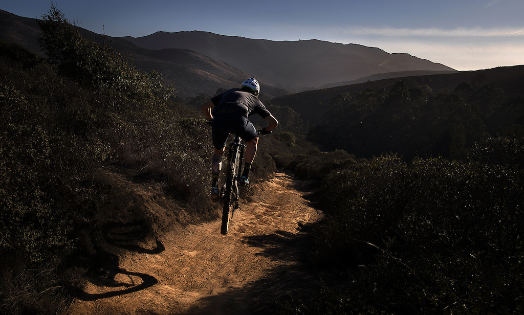 Anthony Pallaci riding the trails of the Marin Headlands in the new Kali gloves.