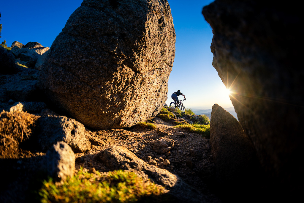 Jason Schroeder on Tempest Trail at Bogus Basin at sunset.