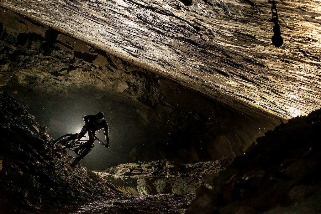 Finding unridden lines deep in a working slate mine in The Lake District.