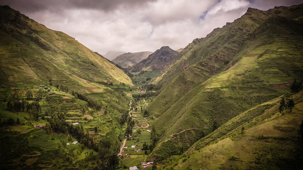A view of the Lamay creek in the Sacred Valley of the Incas. Green and cloudy usual settings of the rainy season.