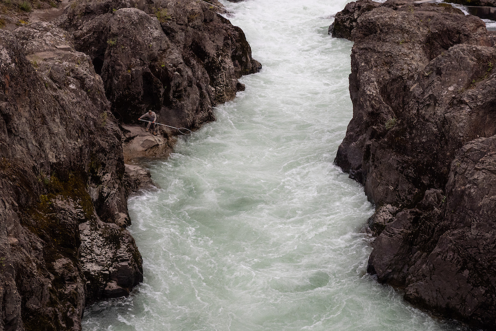 Moricetown Canyon has been an important salmon fishing spot for the Witsuwet'en First Nation generations