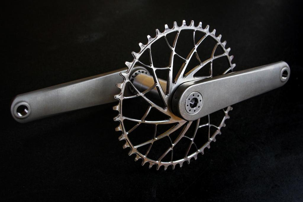 Sturdy Cycles' titanium crankset.