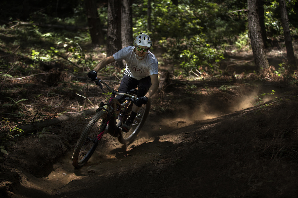 Alain Lanusse testing the new Maya 3.0 in Matte Khaki on the campus trails at UCSC.
