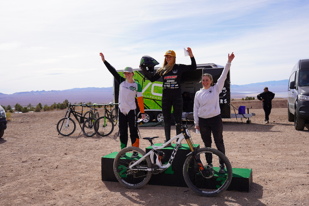 KHS Pro MTB team rider Kailey Skelton on the podium in first place at race 2 of the DVO Winter Series at Bootleg Canyon.