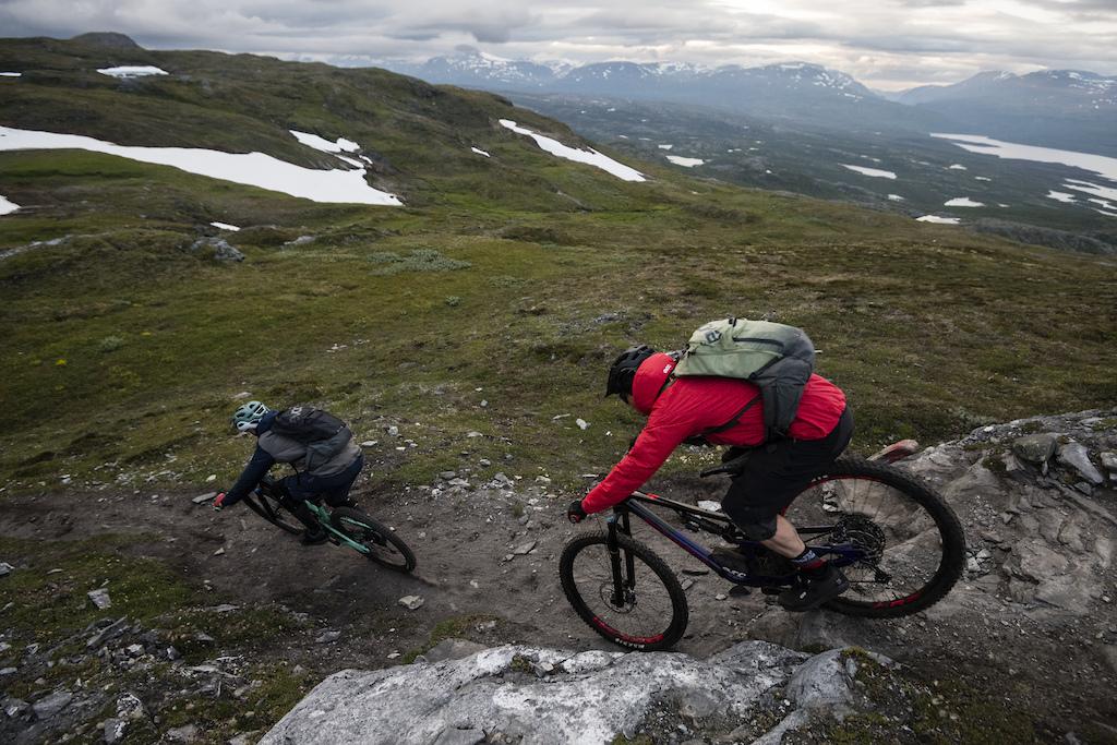 Jan Sallawitz and Holger Feist mountain biking near Bj rkliden in Swedish Lapland.