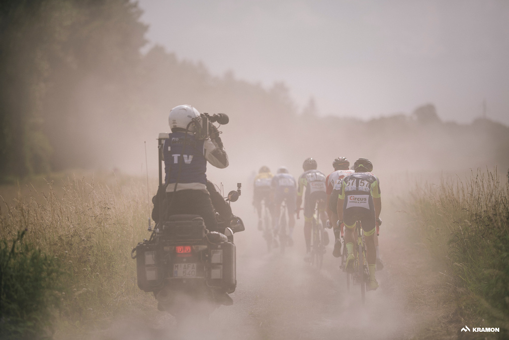 capturing this race live for TV is a scetchy undertaking at times... dusty too 3rd Dwars Door Het hageland 2018 BEL 1 day race Aarschot Diest 198km