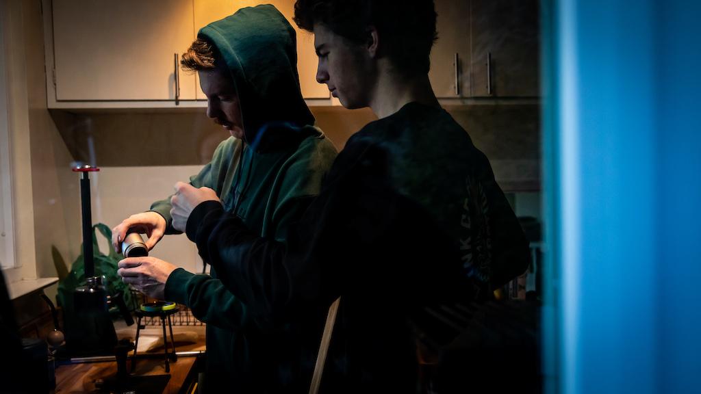 Jubal Davis and Quinn Reece making coffee