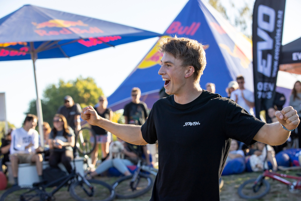 Bennett Greenough celebrates the win at the Red Bull UCI Pump Track World Championships Qualifier in Cambridge New Zealand on March 20 2021