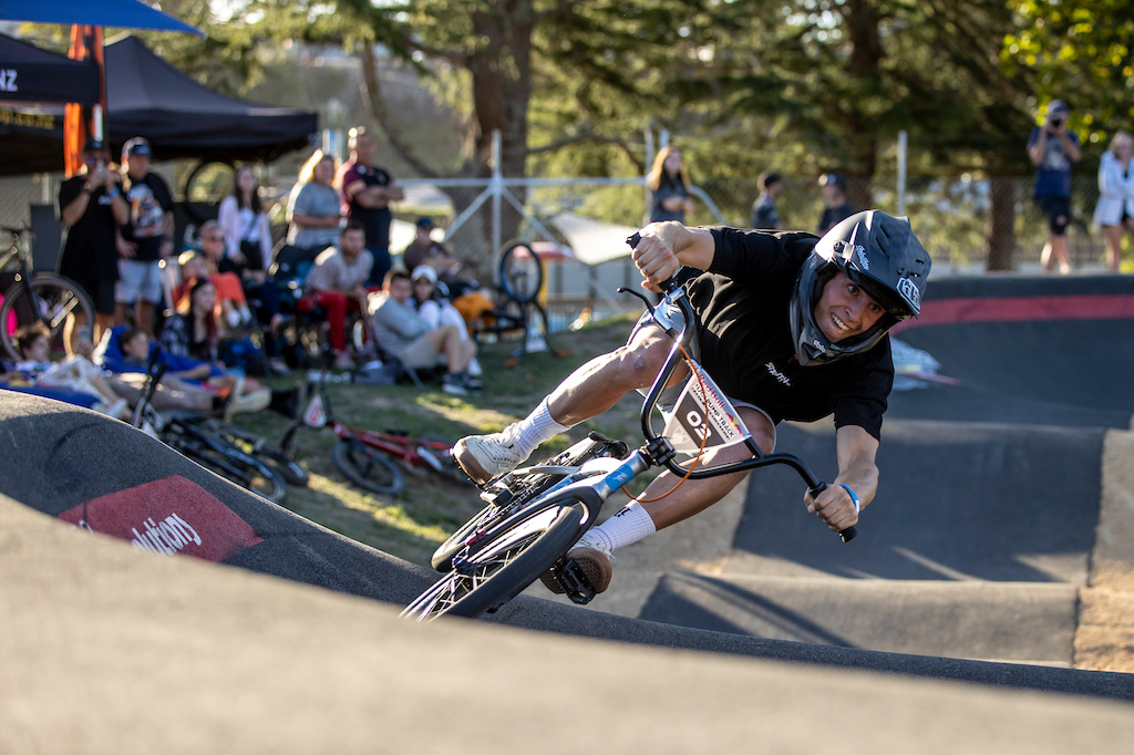 Bennett Greenough on track at the Red Bull UCI Pump Track World Championships Qualifier in Cambridge New Zealand on March 20 2021