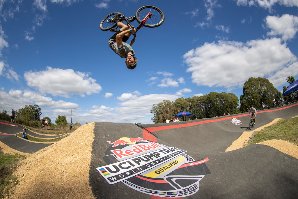 Billy Meaclem getting some airtime at the Red Bull UCI Pump Track World Championships Qualifier in Cambridge New Zealand on March 20 2021