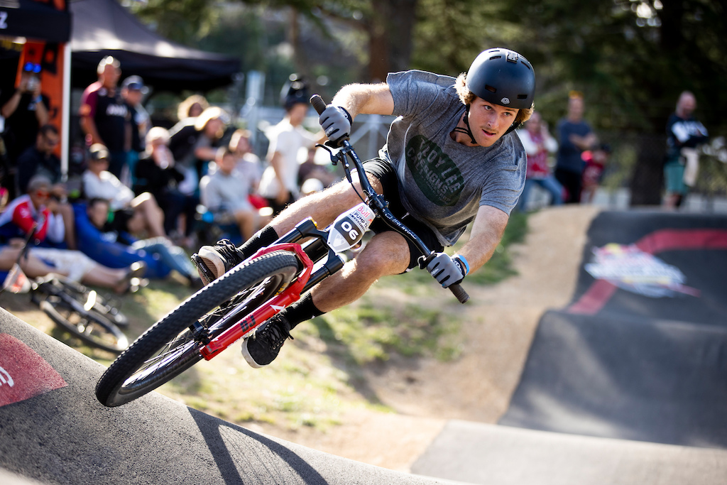 Billy Mealem on track at the Red Bull UCI Pump Track World Championships Qualifier in Cambridge New Zealand on March 20 2021
