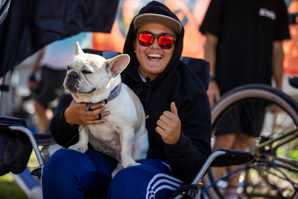 Doggos smiles and Jessie Smith at the Red Bull UCI Pump Track World Championships Qualifier in Cambridge New Zealand on March 20 2021