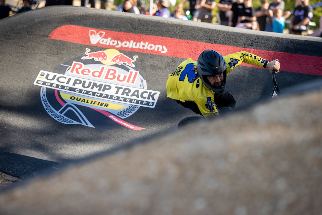 Rider at the Red Bull UCI Pump Track World Championships Qualifier in Cambridge New Zealand on March 20 2021