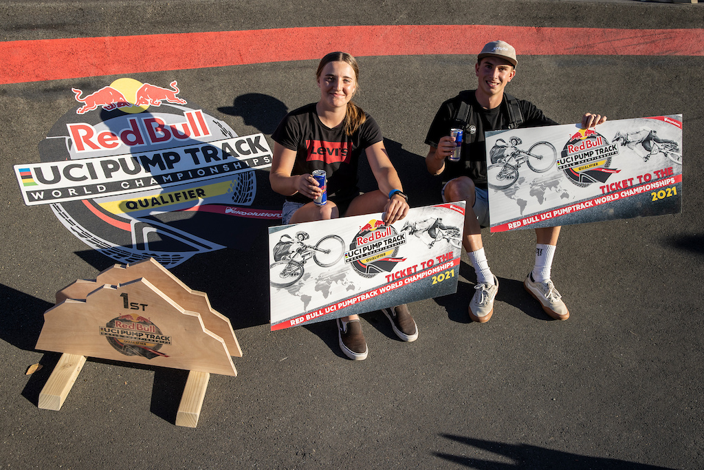 Megan Williams and Bennett Greenough secure their World Final tickets at the Red Bull UCI Pump Track World Championships Qualifier in Cambridge New Zealand on March 20 2021