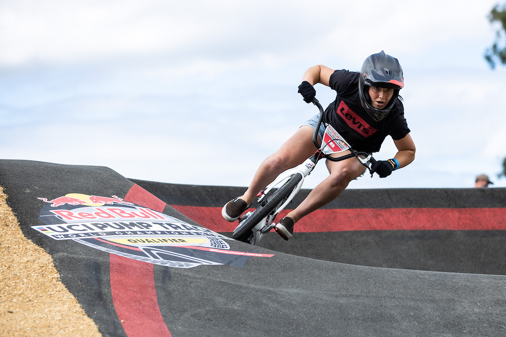 Megan Williams nabs the gold at the Red Bull UCI Pump Track Qualifier in Cambridge New Zealand on March 20 2021