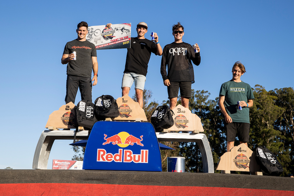 Men s Podium at the Red Bull UCI Pump Track World Championships Qualifier in Cambridge New Zealand on March 20 2021