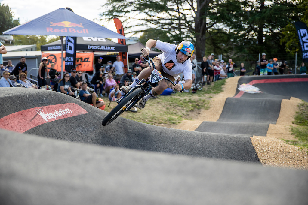 Remy Morton on track at the Red Bull UCI Pump Track World Championships Qualifier in Cambridge New Zealand on March 20 2021