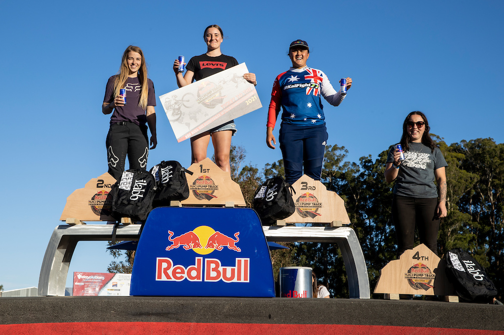 Women s Podium at the Red Bull UCI Pump Track World Championships Qualifier in Cambridge New Zealand on March 20 2021