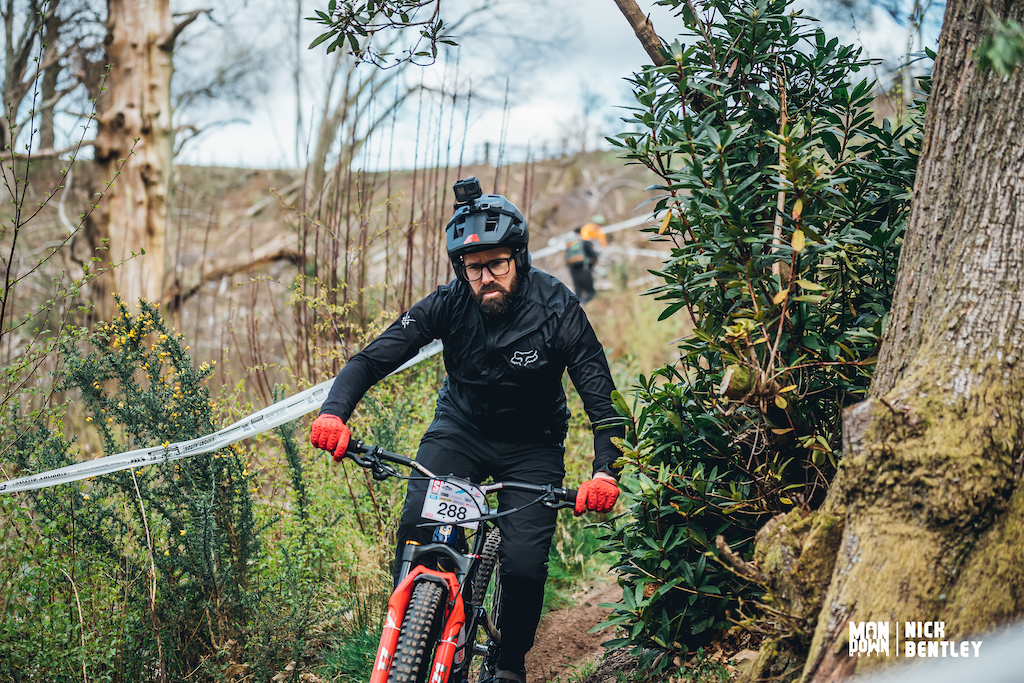 Nathan Jerome heading in to the woods on stage 1.