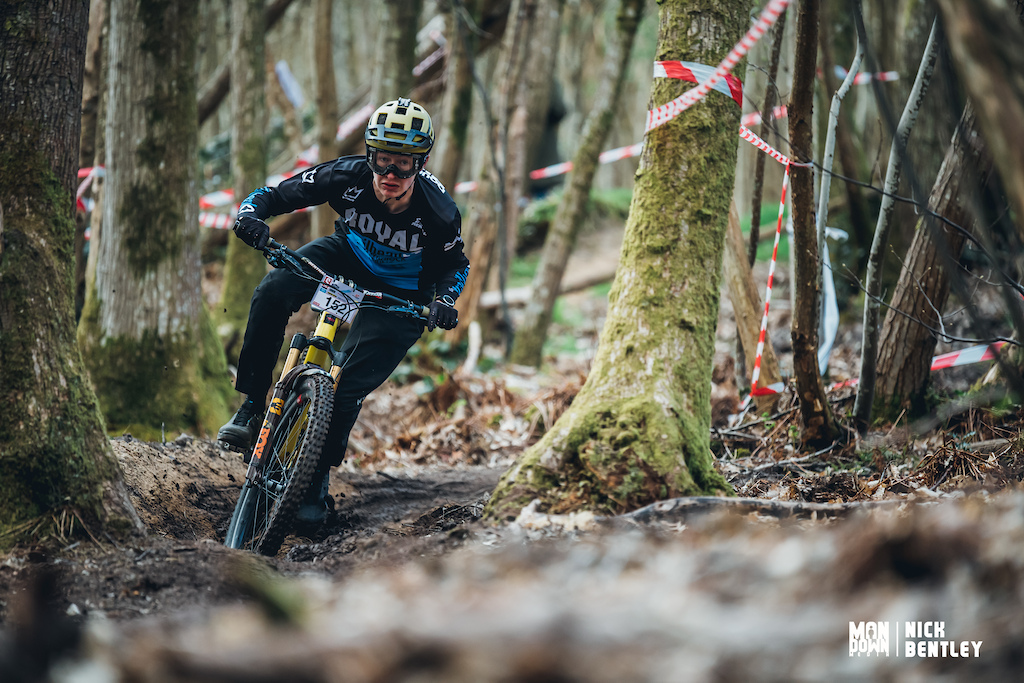 Dougie Bishop has to be up there for silliest face pulled of the day as he comes through the mud on stage 4.