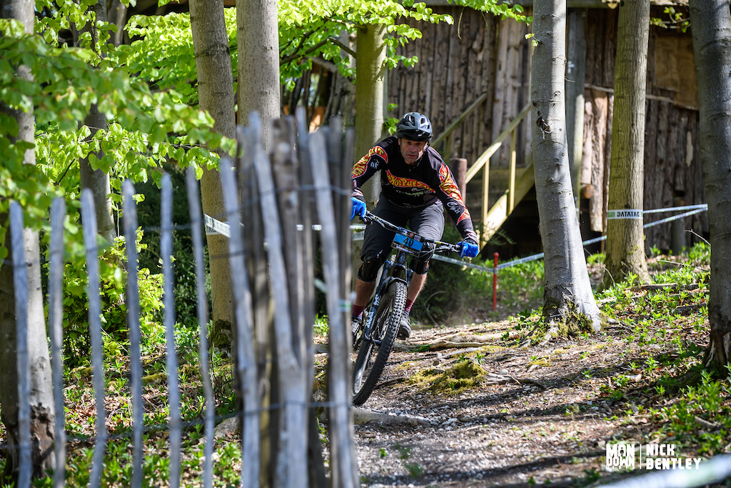 Chris Blackmore making his way through some of the remnants of the boomtown festival which is also hosted on the site. Well when we could have festivals anyway. a solid 3rd place today for the Hot Pursuit Cycles rider.