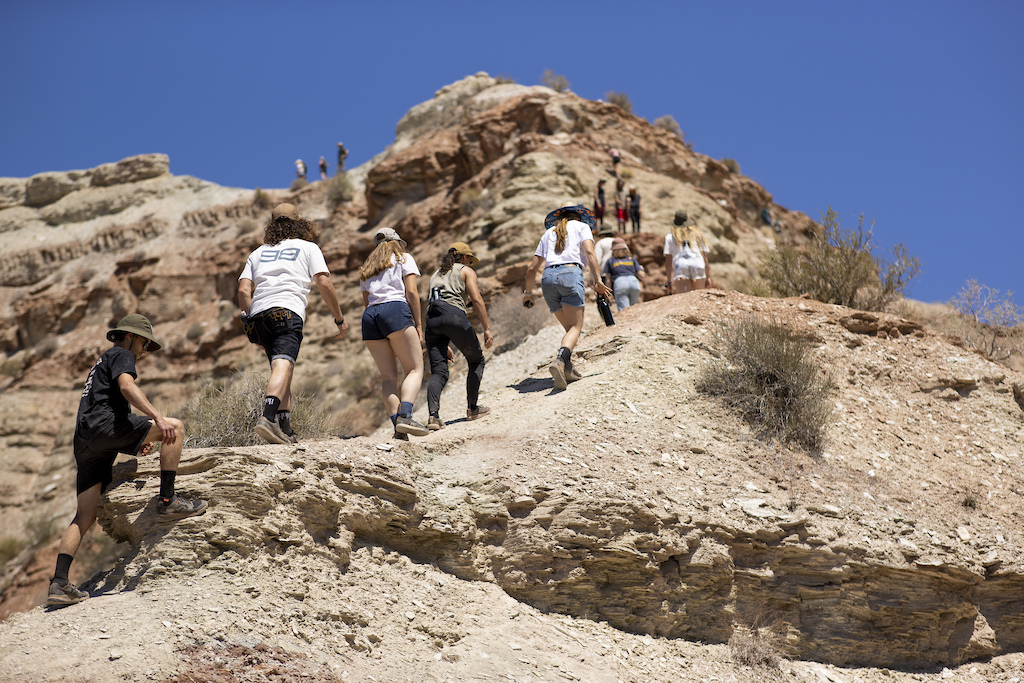 Athletes and diggers scope the course at Red Bull Formation in Virgin Utah USA on 24 May 2021.