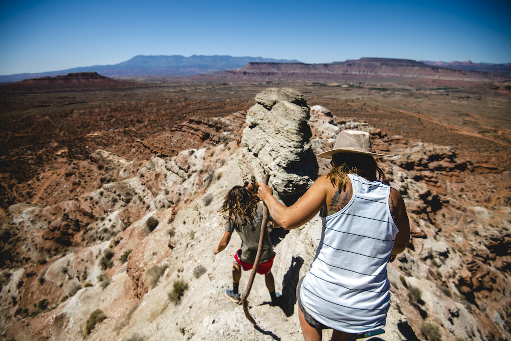 Ryan Rodriguez and Chelsea Kimball walk the course at Redbull Formation in Virgin Utah USA on 24 May 2021