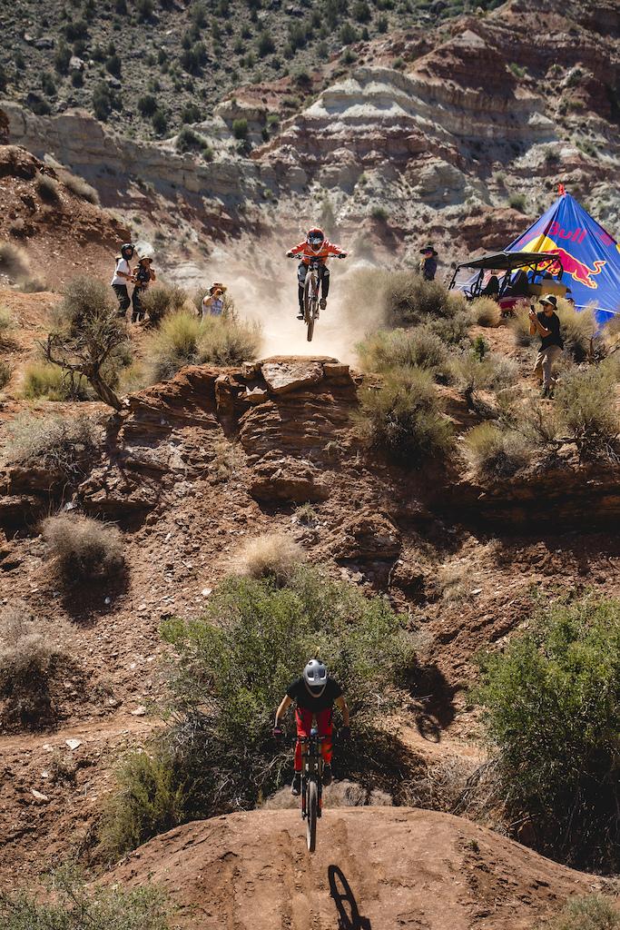Cami Noguira leads Vaea Verbeeck into the gap jump at Red Bull Formation in Virgin Utah USA on 27 May 2021