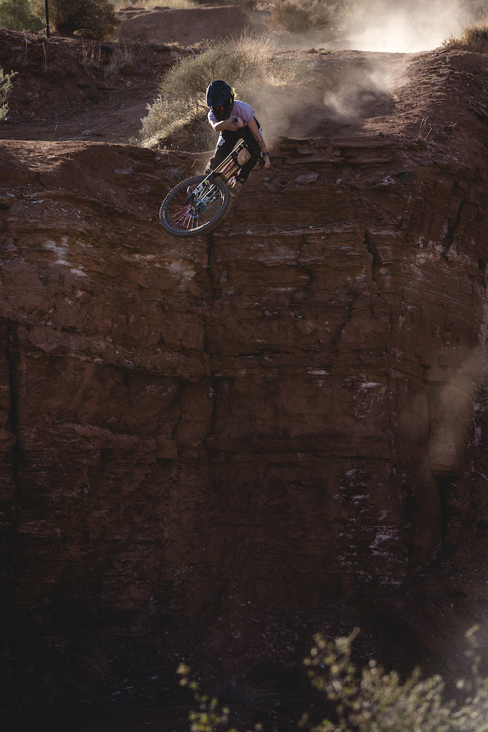 Vinny Armstrong hits the drop to step-up at Red Bull Formation in Virgin Utah USA on 31 May 2021