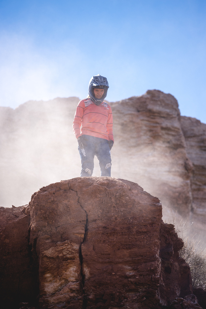 Vaea Verbeeck dials in her double drop feature at Red Bull Formation in Virgin Utah USA on 31 May 2021